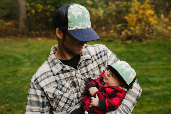 Matching daddy and new baby trucker hats.  So great for a fathers day gift for the active dad