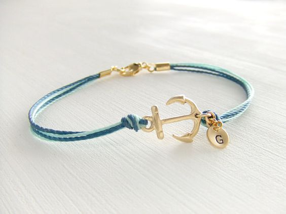 Sailor Anchor Jewelry Bracelet 14K Gold Anchor by LycheeKiss