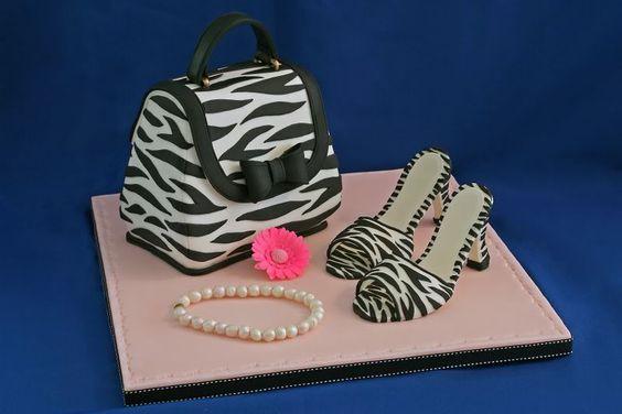 Zebra Purse Cake and Handmade Sugarpaste Shoes