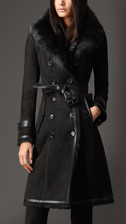 Long Shearling Trench Coat | Burberry | Want | Pinterest | Leather