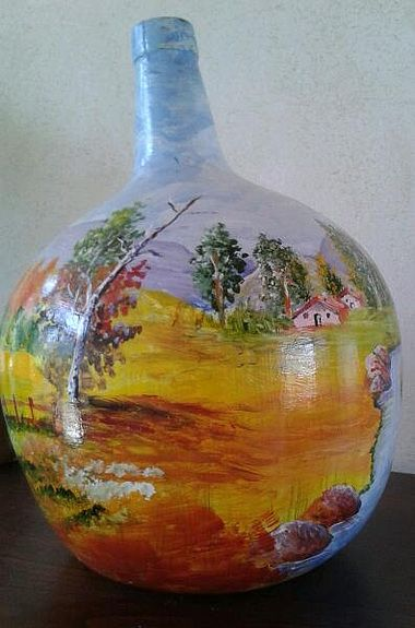 Botellas de cristal, decorada con arenas y pintada