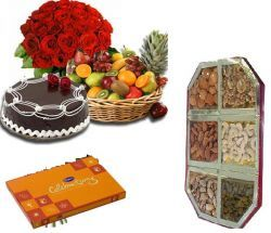 The Super Combo of 12 Red Roses Beautiful Bunch,500 Gms. Fresh Cake (Chocolate or Strawberry flavour), 2 Kgs. Fresh Seasonal Fruits Box, 500 Gms. Assorted Dry Fruits Box with 500 Gms. Sweets from reputed sweets shop along with small Cadbury celebrations Pack - Send this exclusive gift to your loved ones through us.