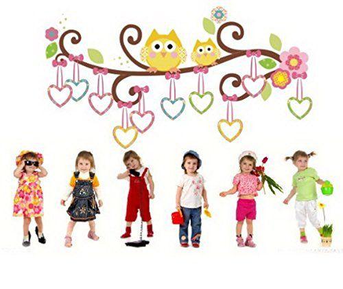 Sunnicy® Wandsticker Eule & Baum farbig Ast mit bunten Herz Kinderzimmer /Kindergarten, Babyzimmer Dekor SUNNICY http://www.amazon.de/dp/B00VR2QR1G/ref=cm_sw_r_pi_dp_neKNwb17S75VM