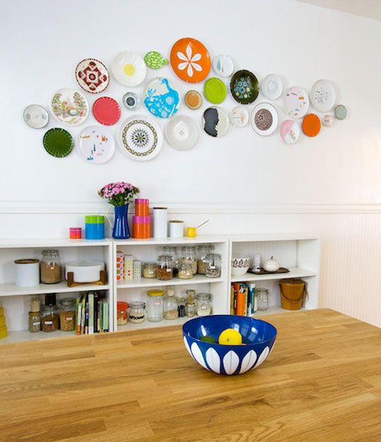 Vintage plate display in the kitchen