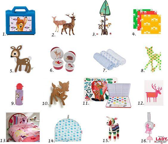 Herten rendieren kerst bambi hertje retro vintage speelgoed kinderen decoratie - Kinderen slaapkamer decoratie ideeen ...