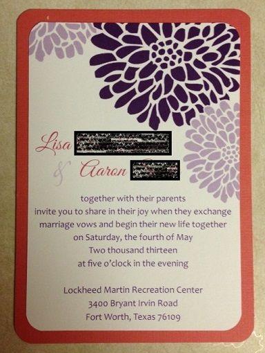 Invitation Set with template available (pic heavy) :  wedding coral diy invitation invitations orange purple template white Invite