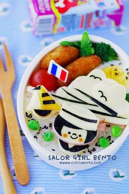 Sailor girl bento. I love the little french flag pick :)