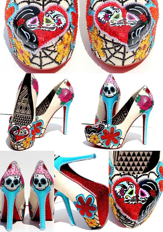 Sugar Skull and Cupcake Heels with Swarovski Crystals and Glitter or Day of the Dead Heels