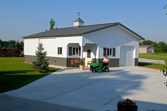 Pole buildings pole barn garage with office west for Pole barn homes indiana