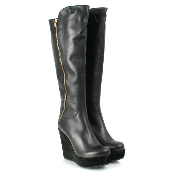 Daniel Black Leather KORELESS Womens Wedge Boot | Shoes...coming
