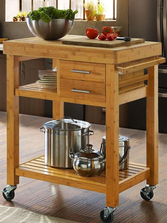Rolling Bamboo Trolley Island Cart With Towel Rack Wood Kitchen Island Kitchen Cart Rolling Kitchen Island