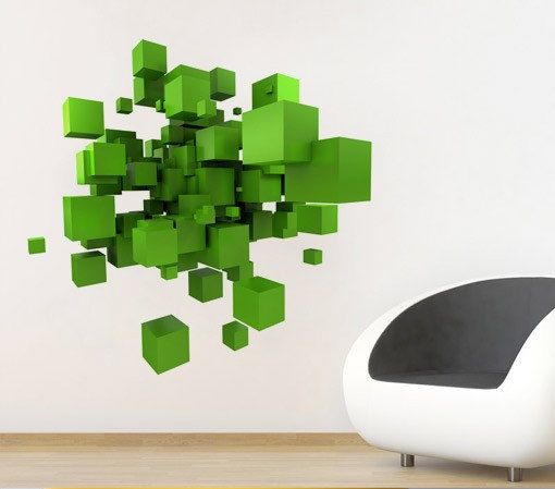 3D Space Cubes Wall Decal Geometric Shape Vinyl