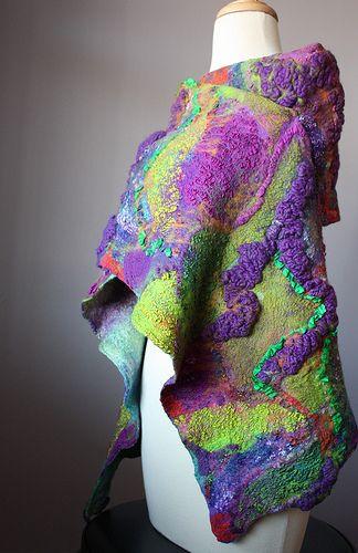 Felted scarf shawl Wool Silk Purple Orange Green collage Abstract Contemporary Original Modern Art
