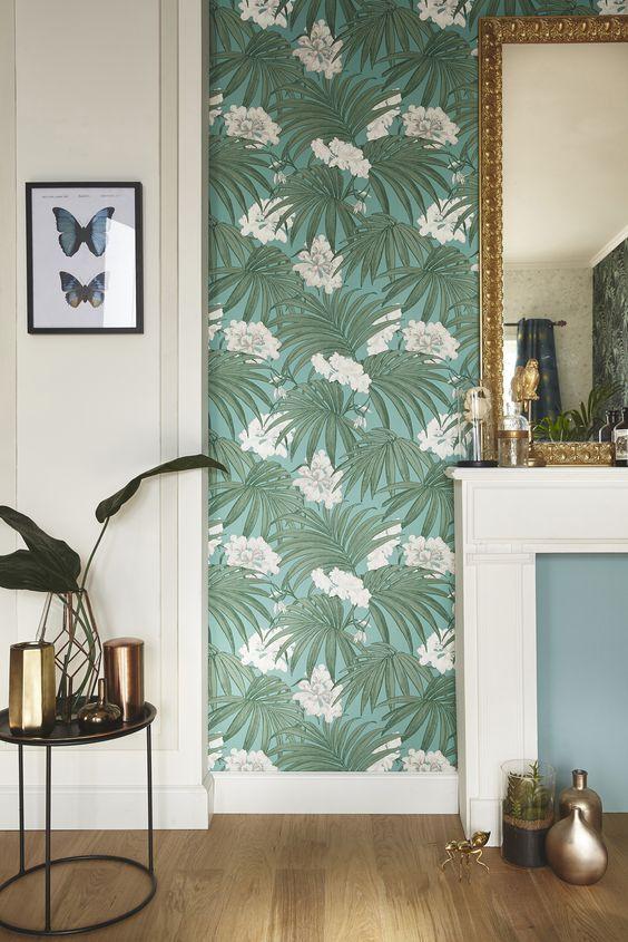 D corez votre entr e avec du papier peint floral et des - Idee deco papier peint pour salon ...