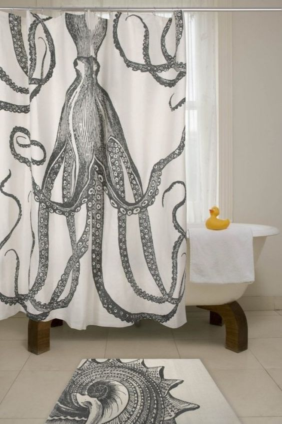 Black and White Shower Curtain Idea with Long Design and Unique ...