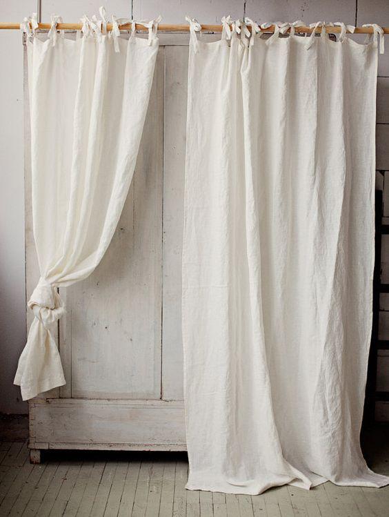 Stonewashed linen curtain. 7 colours. Linen window panel. Linen ...