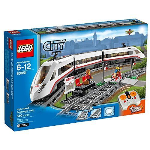 """LEGO City Trains High-speed Passenger Train 60051 Building Toy (673419207799) Includes 3 minifigures: train driver, traveler and a cyclist Includes a full circular track with 16 curved rail tracks and 4 straight rail tracks Way station features small platform with 2 seats, map of train services, warning sign, lights and a crossing Also includes a bicycle High-speed Passenger Train in total measures over 4"""" high, 30"""" long and 1"""" wide Front and rear cars each measure over 4"""" high, 10"""" long and…"""
