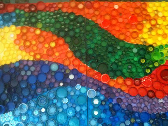 Nancy 39 s art fancies bottle cap murals art classroom for Bottle cap mural tutorial