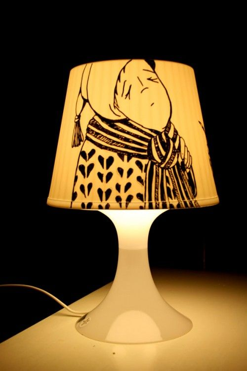 Easy to make with a cheap IKEA lamp and a black posca pen.