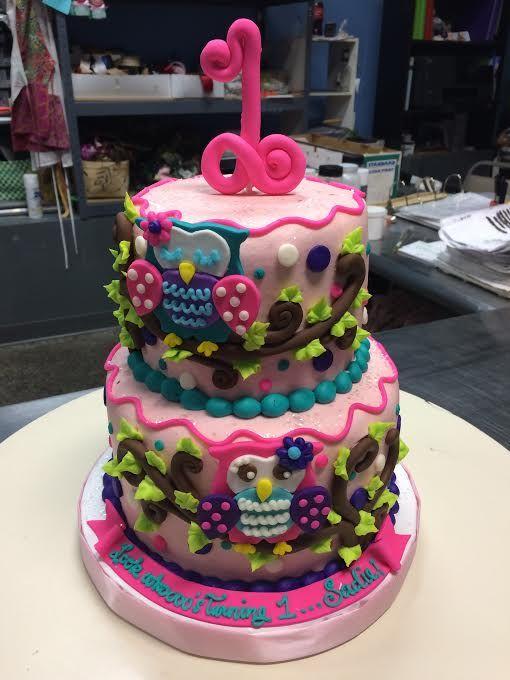 Owl First Birthday Cake Adrienne Co Bakery 1st Birthday Cakes