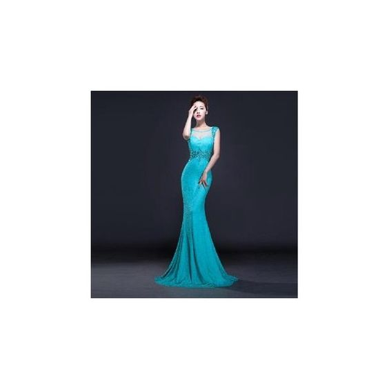 Sleeveless Lace Mermaid Evening Gown (110 AUD) ❤ liked on Polyvore featuring dresses, gowns, women, sleeveless dress, blue gown, lace gown, lace ball gown and blue sleeveless dress