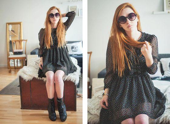 H&M Polkadot Dress, Lindex Sunglases, Din Sko Boots