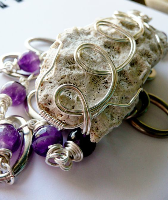 Sea Coral and Amethyst Wire Wrapped Necklace and by aleathabean