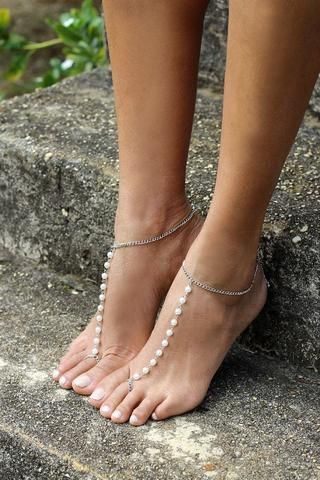 Bali Barefoot Sandals  Discount code: FSPINTEREST. Barefoot sandals, bridesmaid jewellery, bridesmaid shoes, beach wedding, barefoot bride, pearls, silver.