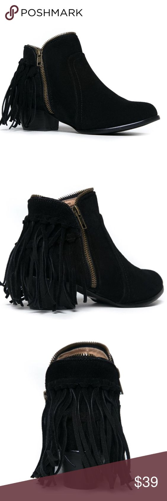 Low heel fringe 7 ankle boots bootie black new Brand new in a size 7. Shoes Ankle Boots & Booties