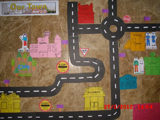 Our Town display - love the roads and children could design and draw features such as police station, school, shop etc.