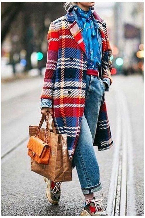 Fall Fashion Coats Plaid Print Coat, Red Check Winter Coat