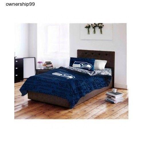 Seattle Seahawks Bedding NFL Football Full Bed Set Comforter Sheets Pillowcase  #NFL