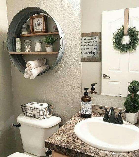 Galvanized Wash Tub Shelf Idea Over The Toilet Black Wire Basket