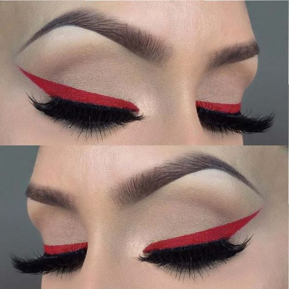 23 Glam Makeup Ideas for Christmas: #10. BOLD FESTIVE RED EYELINER; #christmas; #makeup