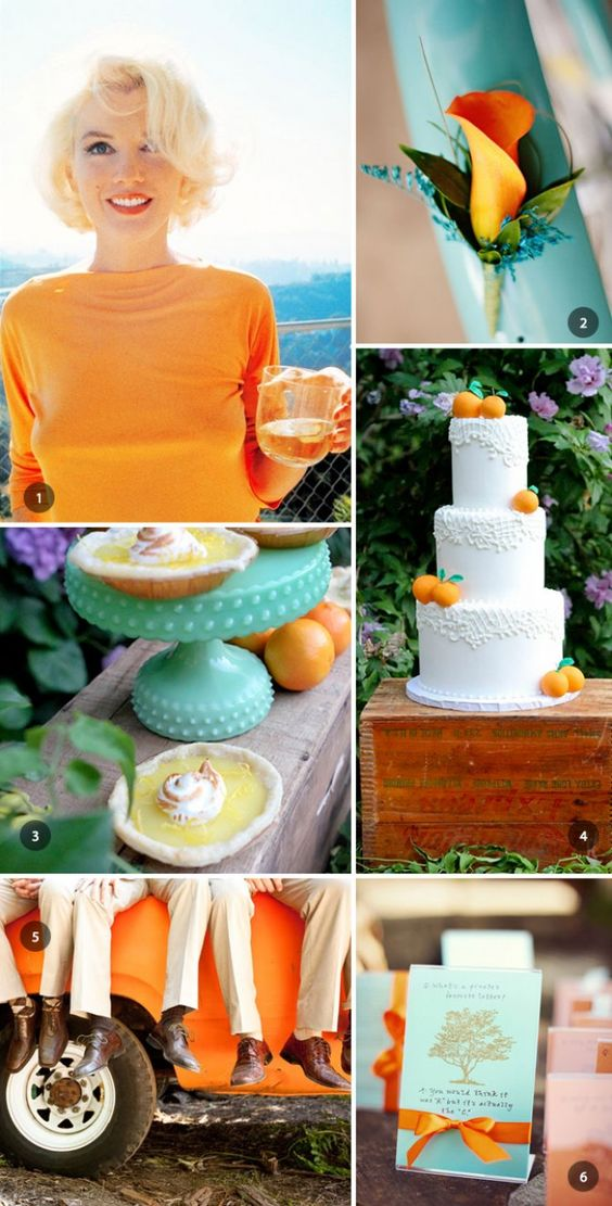 tangerine and turquoise wedding inspiration tying the