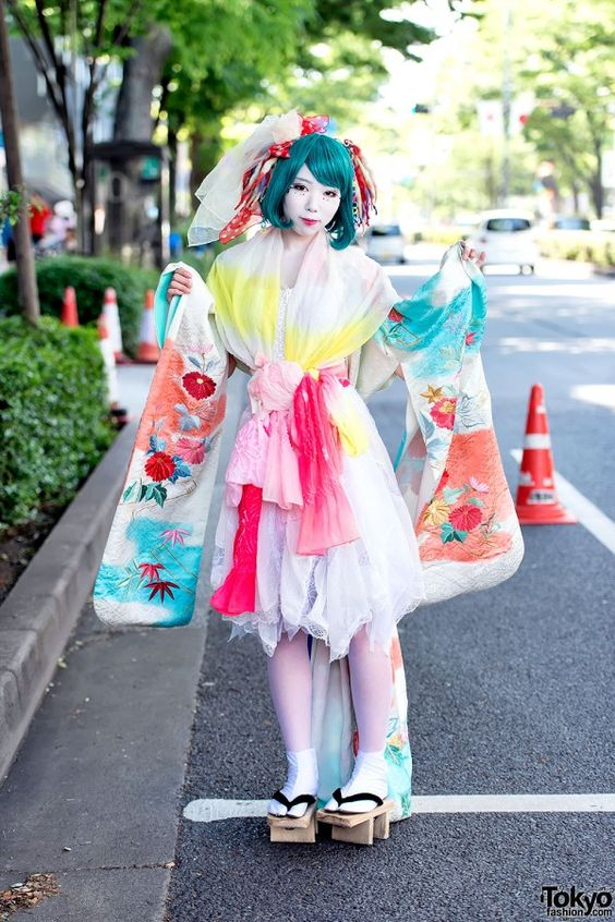 Colorful Kimono Sleeve Dress in Harajuku