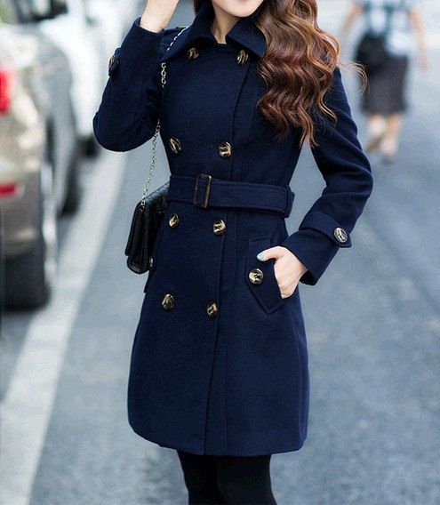 women's Navy Blue Wool coat double breasted button Coat Long Coat