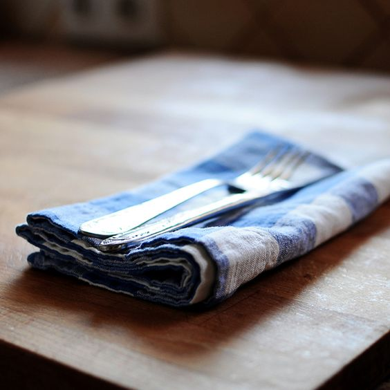 Placemats – Blue Check Linen Cotton Napkin – a unique product by LinenTales on DaWanda