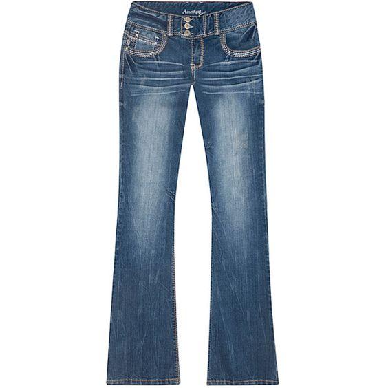 amethyst jeans hallie embroidered floral pocket bootcut jeans ($27