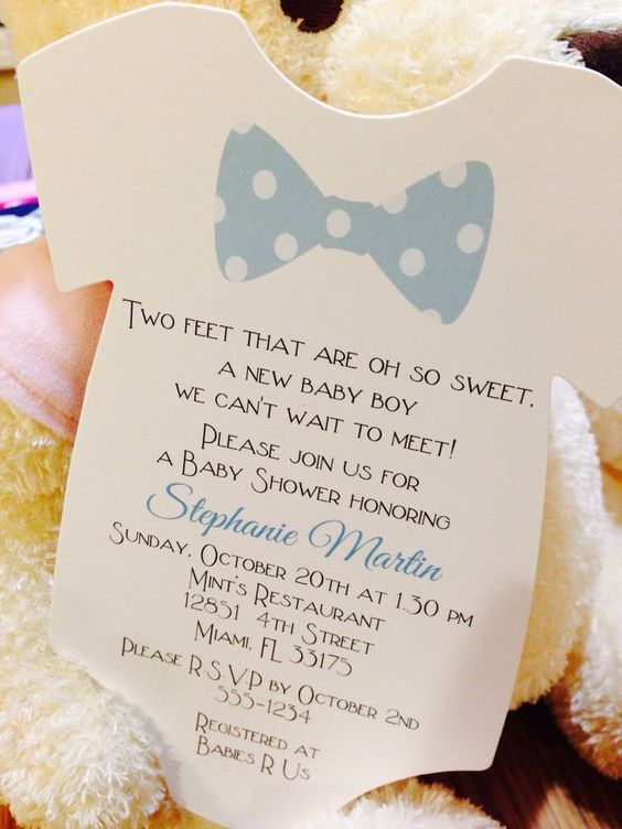 Baby Boy Bow Tie Onesie Baby Shower Invitation - All Wording - baby shower invitation