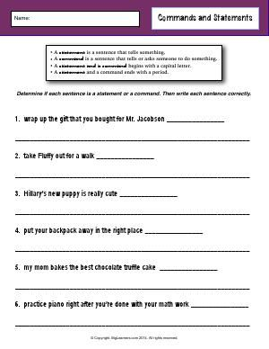Worksheet   Commands and Statements   Determine if each sentence is a statement…