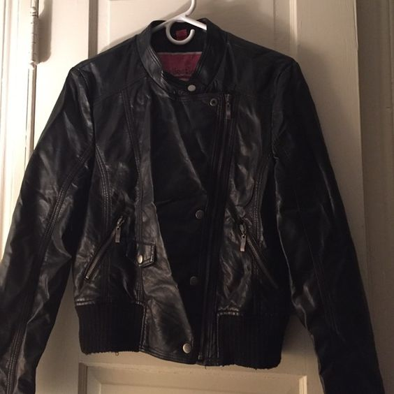 Faux leather bomber jacket New never worn no tags.  Bought this for my daughter to go to a club in the city - she never wore it. Jackets & Coats