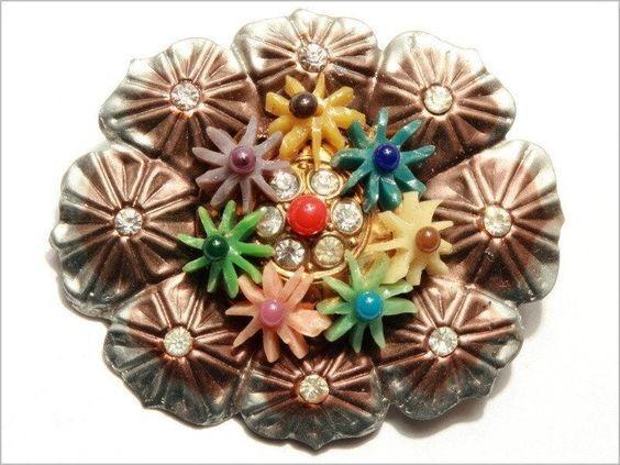 Vintage Czech floral pressed metal pin brooch early plastic flowers rhinestones
