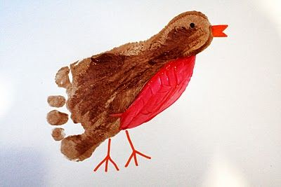 Footprint Robin: Footprint Craft, Hand Footprint, Art Idea, Kid Craft