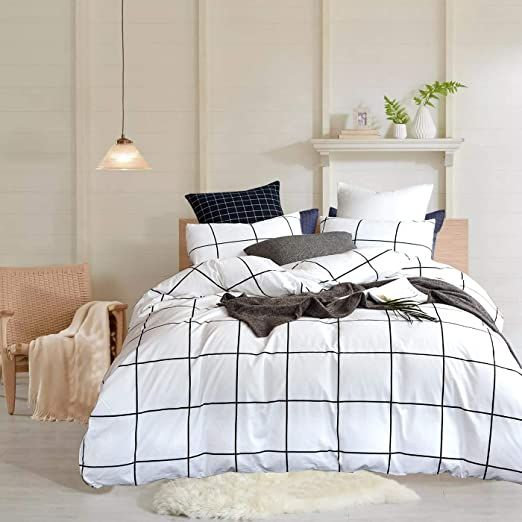 Wellboo White Plaid Duvet Covers Grid Twin Black And White Bedding Cover Cotton Large Plaid Checkered Covers Wh White Bed Covers White Duvet Covers White Duvet