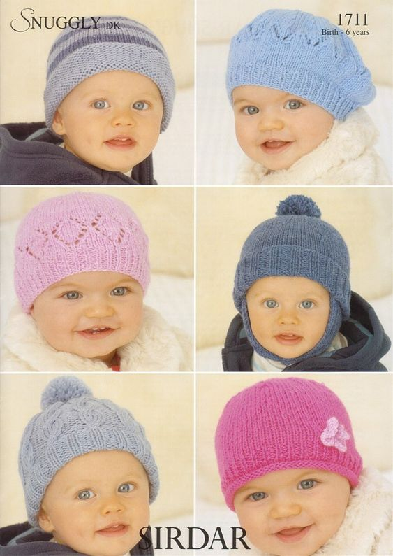 Kids Hats and a Beret in Snuggly DK - 1711
