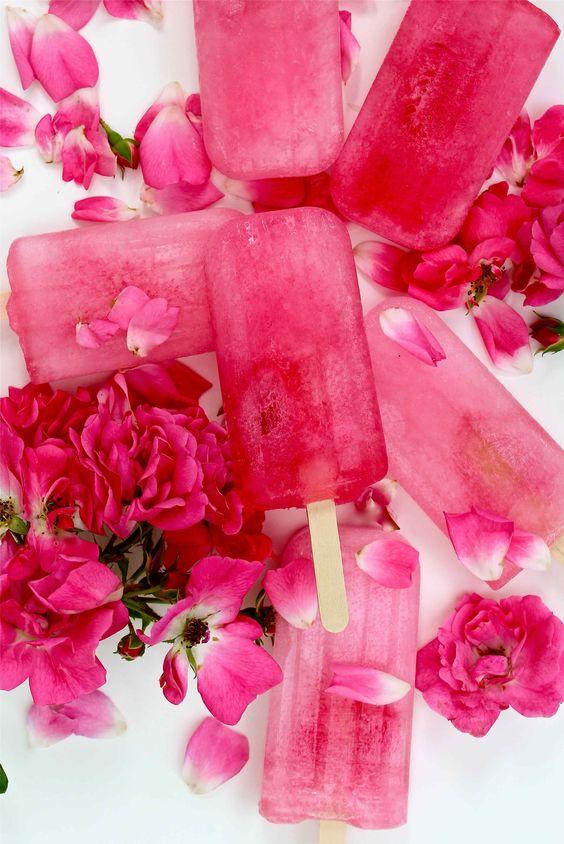 Homemade Ice lollies, rose, rhubarb and elderflower