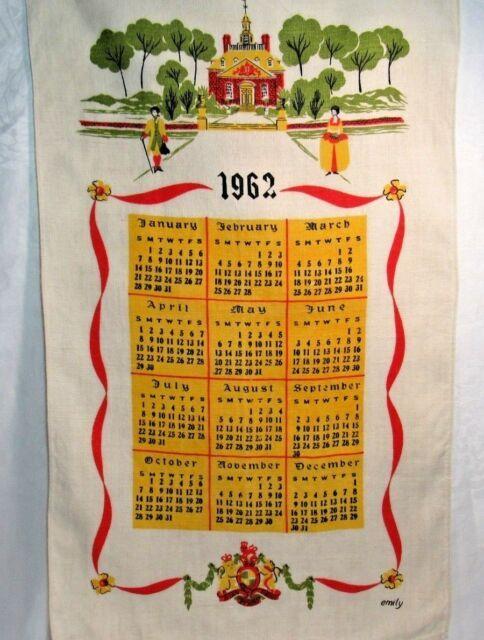 Vintage 1980 Calendar Tea Towel Linen Kitchen Dish Farm Scene