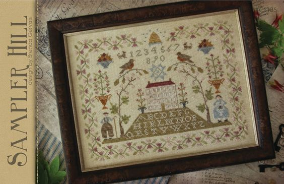 WITH THY NEEDLE & Thread - Sampler Hill by Brenda Gervais - Primitive Cross Stitch Sampler Pattern - Country Stitches