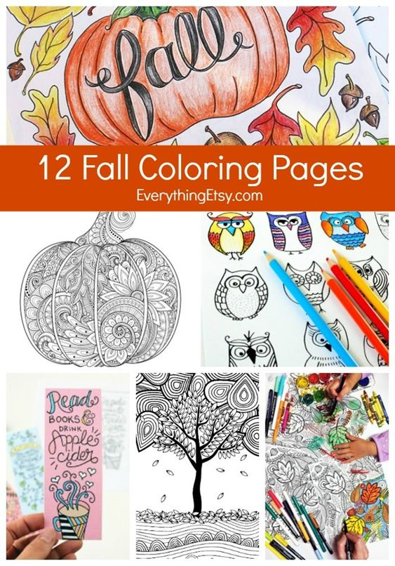 12 Fall Coloring Pages for Adults {Free Printables} for work
